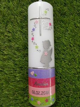 Taufkerze Schutzengel TK152-a-U mit Untergrund / Zartflieder-Fuchsia-Rosa-Apfelgrün Holoflitter Holoflitter