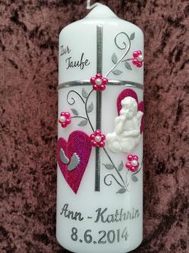 Patenkerze Kreuz TK109-1 Pink Holoflitter Schreibschrift