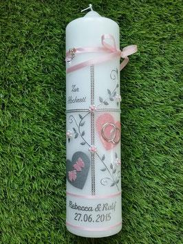 Hochzeitskerze HK109-1 Rosa Holoflitter mit Silber