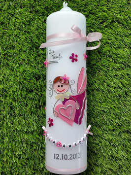 Taufkerze SK116 Schutzengel Mädchen Rosa-Pink Flitter mit Blüten
