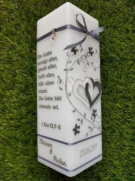 Hochzeitskerze HKS216 Weiß-Anthrazit Holoflitter