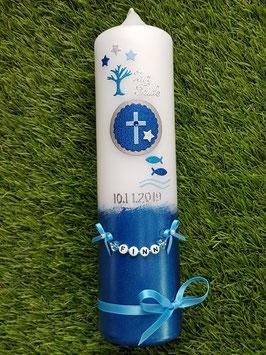 Taufkerze Symbole TK308-U in Türkis--Dunkelblau-Hellblau-Silber Holoflitter / Lebensbaum-Kreuz-Fische / Buchstabenkette