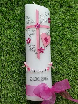 Taufkerze TK102-5 Klassisch Rosa-Pink Flitter