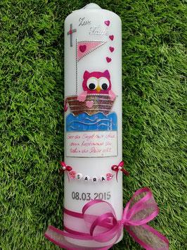 Taufkerze EULE im Boot & Kette TK179 Pink-Rosa Flitter