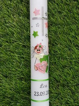 Taufkerze SK116 Schutzengel Mädchen Apfelgrün-RosaHoloflitter mit Sternenhimmel