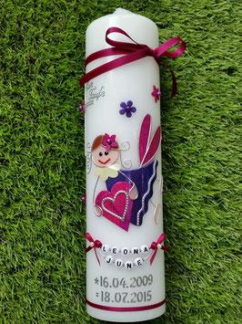 Taufkerze SK116 Schutzengel Mädchen Pink-Dunkellila Flitter mit Blüten