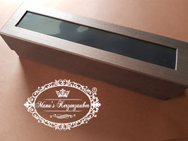 Exclusive Kerzenbox / Kerzenkarton mit Stülpdeckel in Kupferbraun