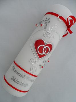 Hochzeitskerze klassisch HK208 Rot Flitter