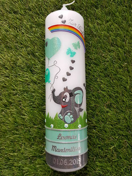 Taufkerze Elefant TK210-5 Anthrazit-Zartmint-Mint Holoflitter / Regenbogen