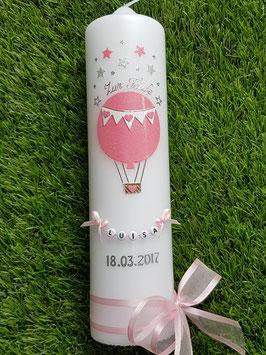 Taufkerze TK105 Heißluftballon in Rosa-Weiß Holoflitter