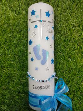 Taufkerze TK096 Große Füsschen Hellblau-Türkis Holoflitter mit Silber