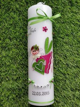 Taufkerze SK116 Schutzengel Mädchen Apfelgrün-Pink Holoflitter mit Blüten