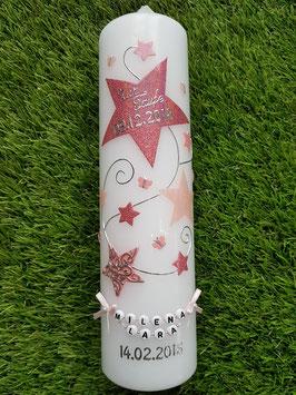 Taufkerze od. Kerze für Sternenkinder KSK300 Altrosa-Rosa-Zartrosa Holoflitter mit Schmetterlinge