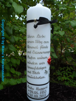 Trauerkerze Spruch & Rose TRK516 inkl. Namen & Datum