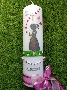 Taufkerze SK154-3 SCHUTZENGEL Mädchen stehend Pink-Rosa Holoflitter