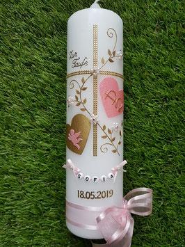 Taufkerze TK109-2 Klassisch Rosa Holoflitter-Gold  & Buchstabenkette / A & O mit Engel