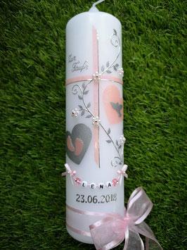 Taufkerze TK109 Zartrosa Holoflitter mit Herzen & Buchstabenkette / Breite Satin-Organzaschleife
