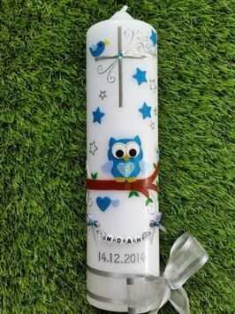 Taufkerze EULE das Original mit Sterne & Buchstaben-Kette TK181 in türkis-hellblau Flitter/Bänder Silber