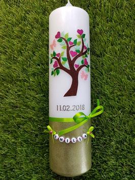 Taufkerze Lebensbaum TK400-U Silber-Rosa-Pink-Mint-Apfelgrün-Grasgrün Holoflitter