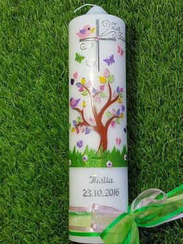 Taufkerze TK400 Lebensbaum mit Silberschrift / Bänder Rosa-Grasgrün