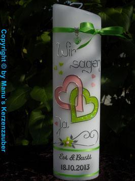 Hochzeitskerze Apfelgrün Glitzer- & Rosa Uni HK205 Wir sagen Ja!