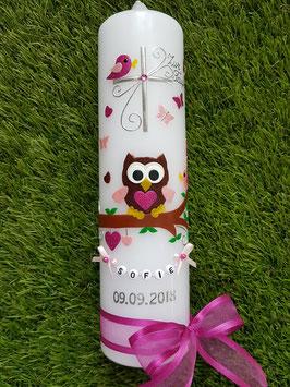 Taufkerze EULE das Original mit Buchstaben-Kette TK181 in Pink-Braun-Rosa Holoflitter