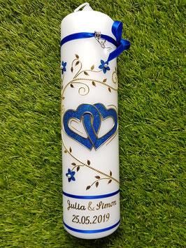 Hochzeitskerze HK204 Dunkelblau Holoflitter & Gold