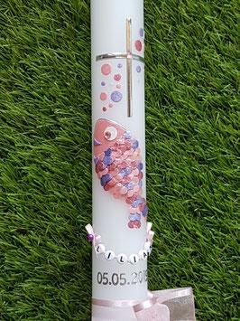 Tauf oder Kommunionkerze Fisch Herzschuppen© TK196 mit Blubberblasen in Rosa-Zartrosa-Altrosa-Flieder-Lila /Band Zartrosa