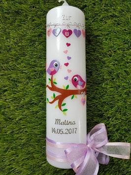 Taufkerze Vögelchen TK 214 Pink-Rosa-Flieder Flitter >> Schleifen Rosa-Flieder / Silberschrift