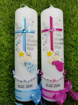 Taufkerzen Schutzengel Zwillinge  Hellblau/Türkis & Pink-Rosa Flitter ZW-TK150