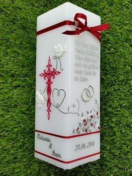 Hochzeitskerze HKS208-1 Bordeaux mit Spruch