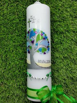 Taufkerzen Junge  Lebensbaum mit Herzchen & Buchstabenkette Türkis TK401 / Schleifen Grasgrün