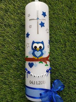 Taufkerze EULE das Original mit Buchstabenkette TK181 mit Sterne in Dunkelblau-Hellblau Holoflitter