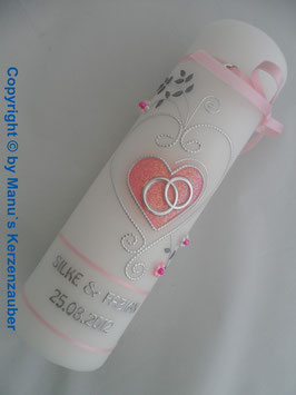 Hochzeitskerze klassisch HK208 Rosa Flitter