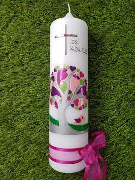 Taufkerze  Lebensbaum Herzchen mit Kreuz & Vogel / Buchstabenkette Pink TK401-1