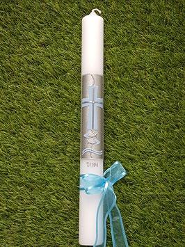 Kommunionkerze oder Konfirmationskerze KK262 Hellblau Uni & Schleife / Silberschrift