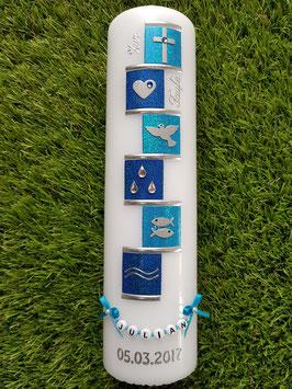 Taufkerze TK315 Symbole Türkis-Dunkelblau Hololfitter / Buchstabenkette