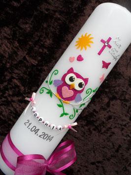 Taufkerze Eule mit Silberschnörkel & Kette TK181-01 Pink-Rosa-Flieder Flitter