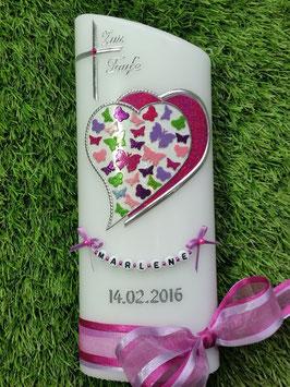 Taufkerze TK097 Schmetterlingsherz Pink-Rosa-Flieder-Apfelgrün-Brombeerlila Flitter & Kette