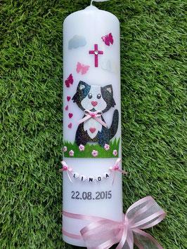 Taufkerze TK277 Kätzchen Rosa-Weiß-Pink-Schwarz Holoflitter