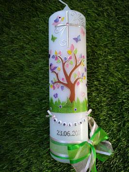 Taufkerze TK400 Lebensbaum mit Buchstabenkette/ Bänder Rosa-Grasgrün