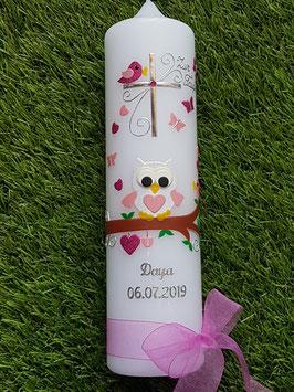 Taufkerze EULE das Original mit Silberschrift TK180 in Rosa-Creme-Pink Flitter / mit Kreuz