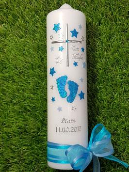 Taufkerze TK096 Große Füsschen Türkis-Hellblau Holoflitter mit Silberschrift