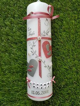 Taufkerze Kreuz TK109-10 Altrosa Holoflitter-Buchstabenkette / Fische & Füsschen