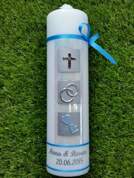 Sehr edle Hochzeitskerze HK210-5 Dunkleres Hellblau