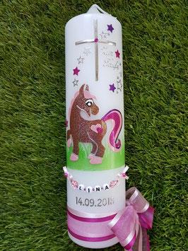 Taufkerze Pony TK264 Braun-Rosa-Pink-Brombeerlila Holoflitter