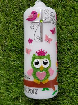 Patenkerze EULE mit Krone Das Original TK181 in Apfelgrün-Rosa-Pink Flitter