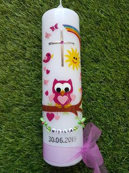 Taufkerze EULE mit Regenbogen & Kette TK181 Pink-Rosa ohne Flitter mit normalen Ast!