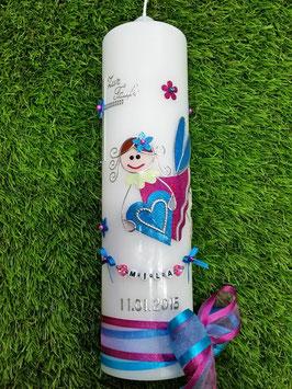Taufkerze SK116 Schutzengel Pink-Türkis Holoflitter / Doppelschleife mit Blüten