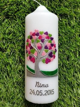 Tisch oder Patenkerze TK401 Lebensbaum mit Herzchen Silberschrift Pink